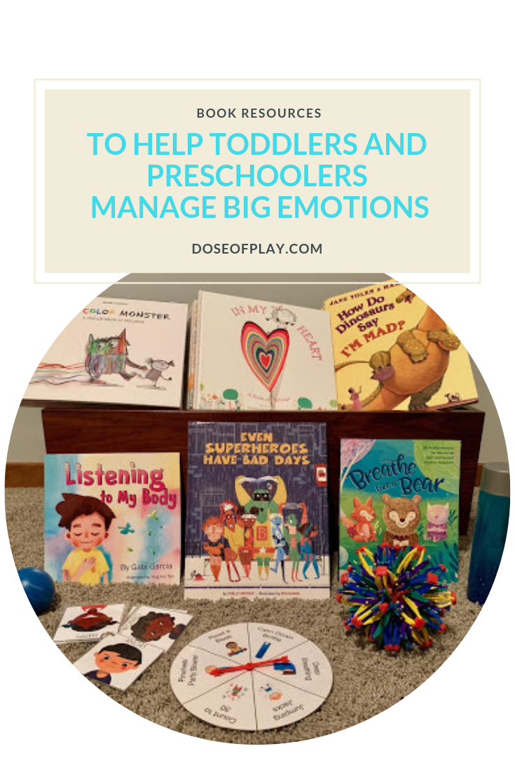 Books to help toddlers and preschoolers manage big emotions #booksforkids #doseofplay #guestpost #familysupport #toddlers #preschoolers #toddleremotions #toddlermeltdowns #copingstrategies #copingkit #colormonster #emotions #childlifespecialist