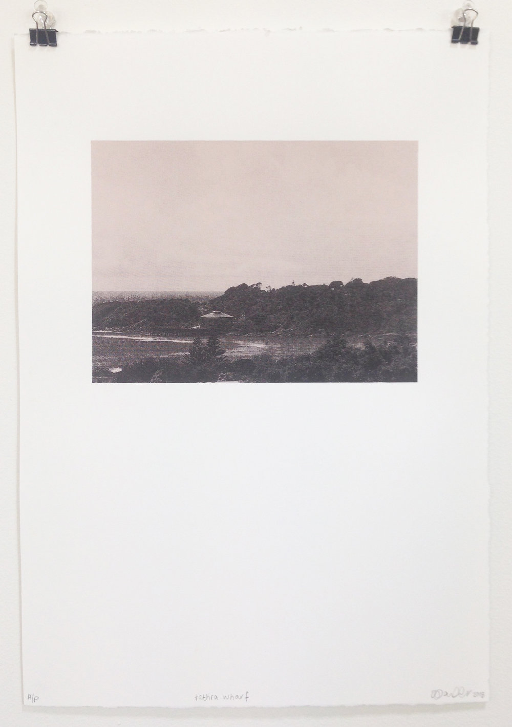 Tathra Wharf , two colour screen print on paper, print 19(w) x 14(h)cm, paper 27(w) x 38(h)cm, 2018  Edition of 10, by Jemima Parker + Lauraine Parker