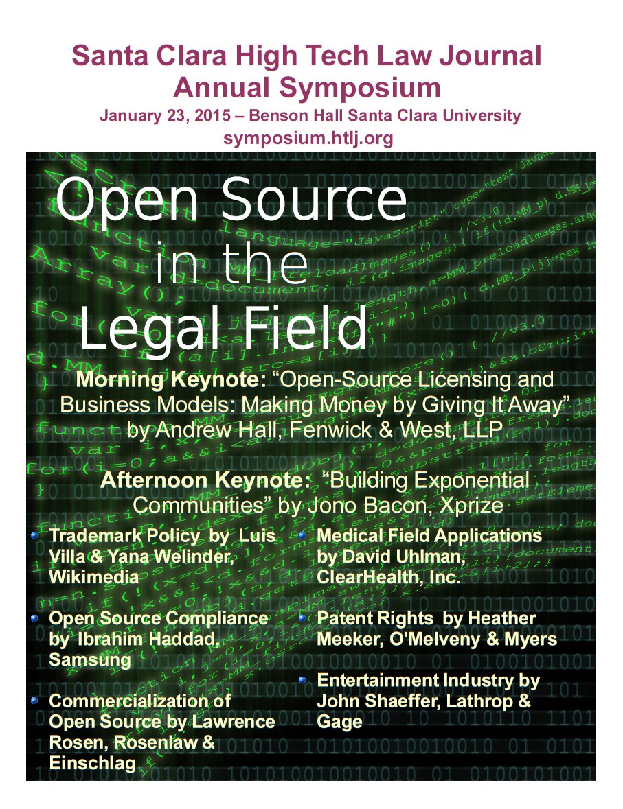 Santa Clara Law HTLJ 2015 Symposium - Friday, January 23, 2015  Benson Hall, Santa Clara University500 El Camino Real Santa Clara, CA 95053Parking InstructionsBreakfast, lunch, and 3:15 PM wine reception included4 Hours of CLE Credits