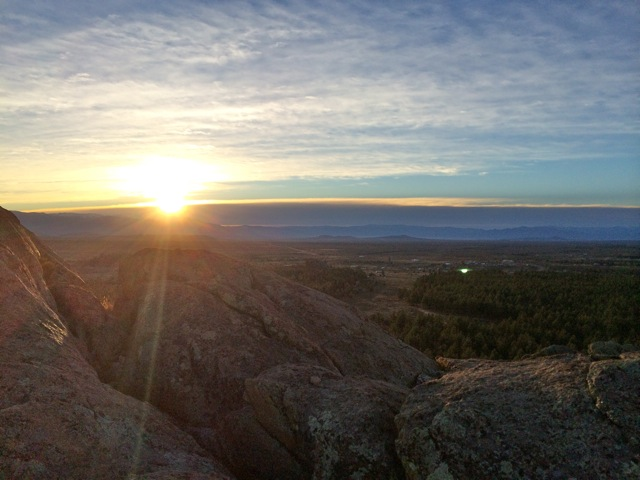 Sunrise at the top of Tres Piedras, New Mexico