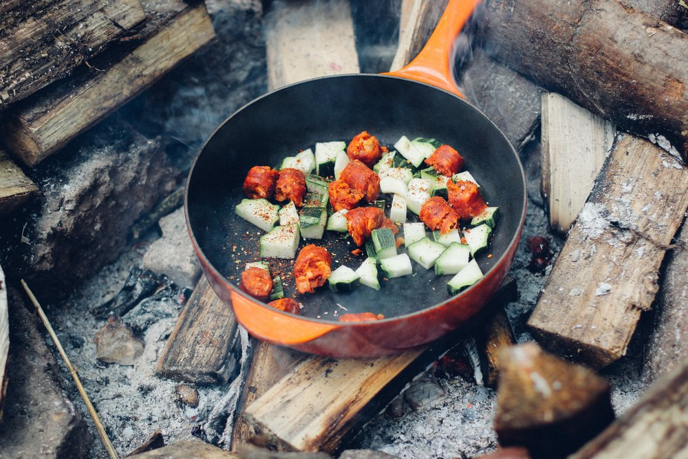 gourmet camping recipes, paella recipe, camping paella recipe, easy camping meals for family, make ahead camping meals, easy camping meals for large groups, camping menu ideas, easy camping lunches, campfire foil recipes, camp stove recipes
