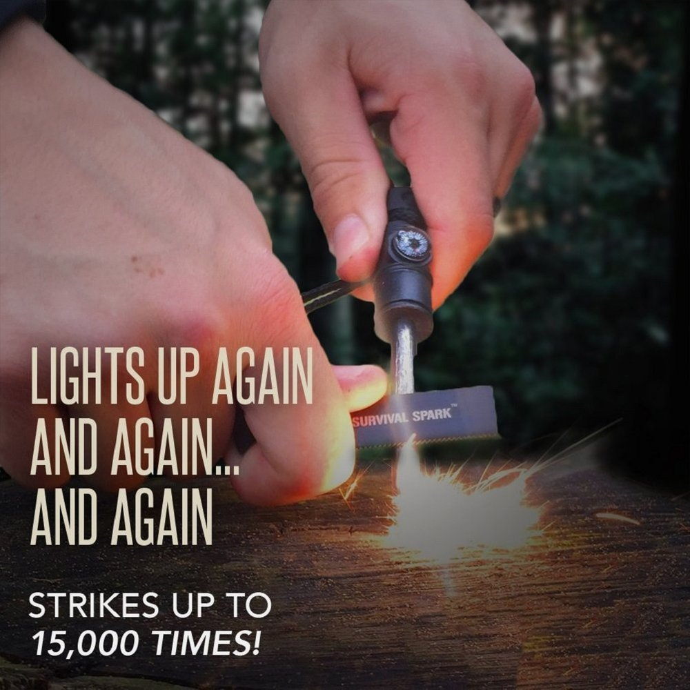 Ralix Magnesium Fire Starter with Whistle and Compass  -- $8.95