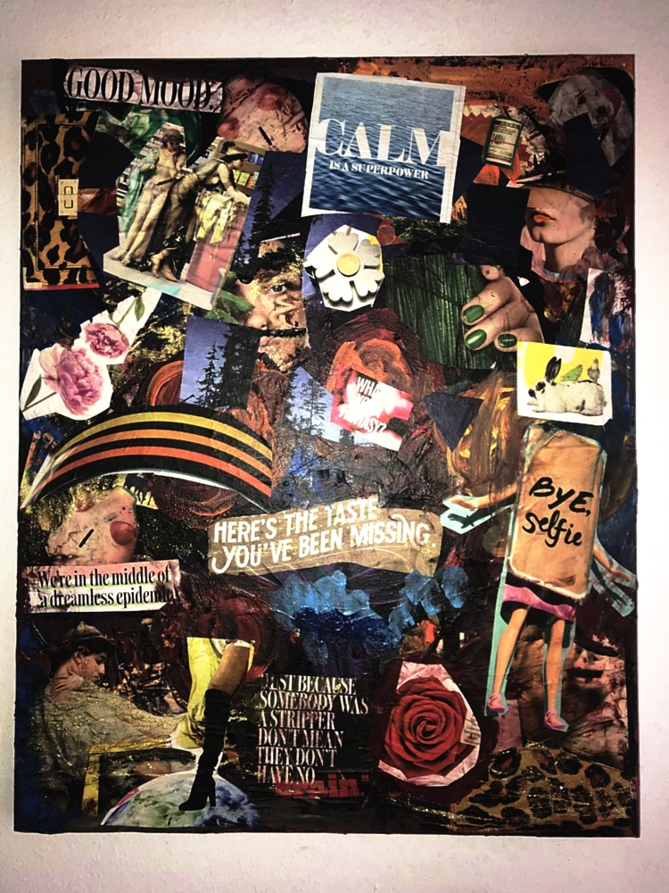 This is a mixed media collage 16x20inch