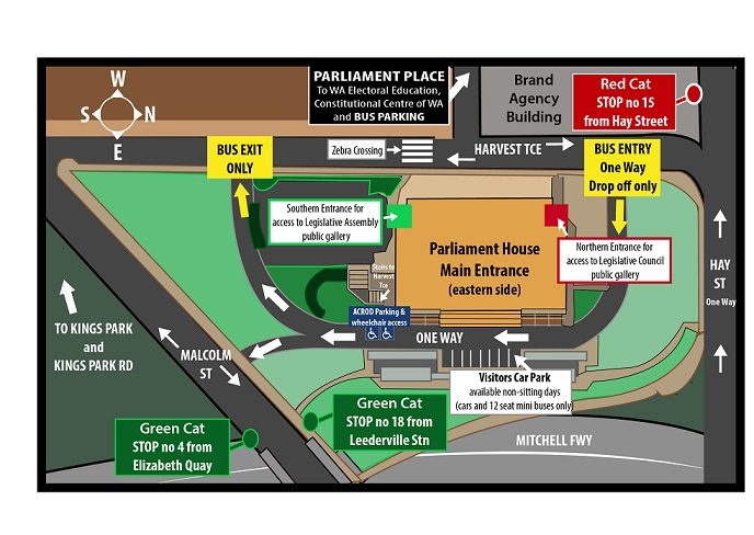 Map of Parliament House. Meet outside the main entrance (eastern side) at 9am on Tuesday 10 October.