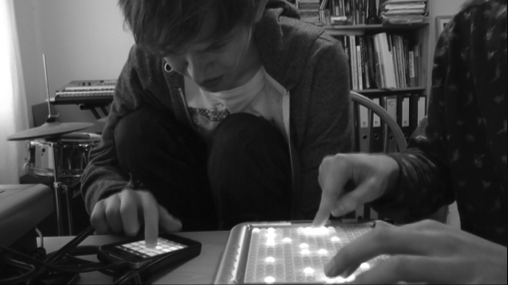 Using technology with my brother during my university studies - here we are jamming using the iPhone iMaschine & a Tenori-on