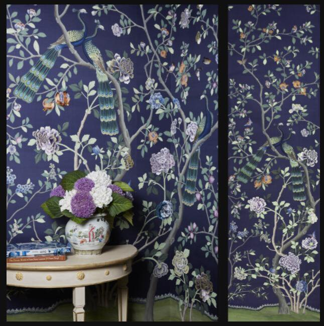 De Gurney handpainted silk wallpaper (to order)