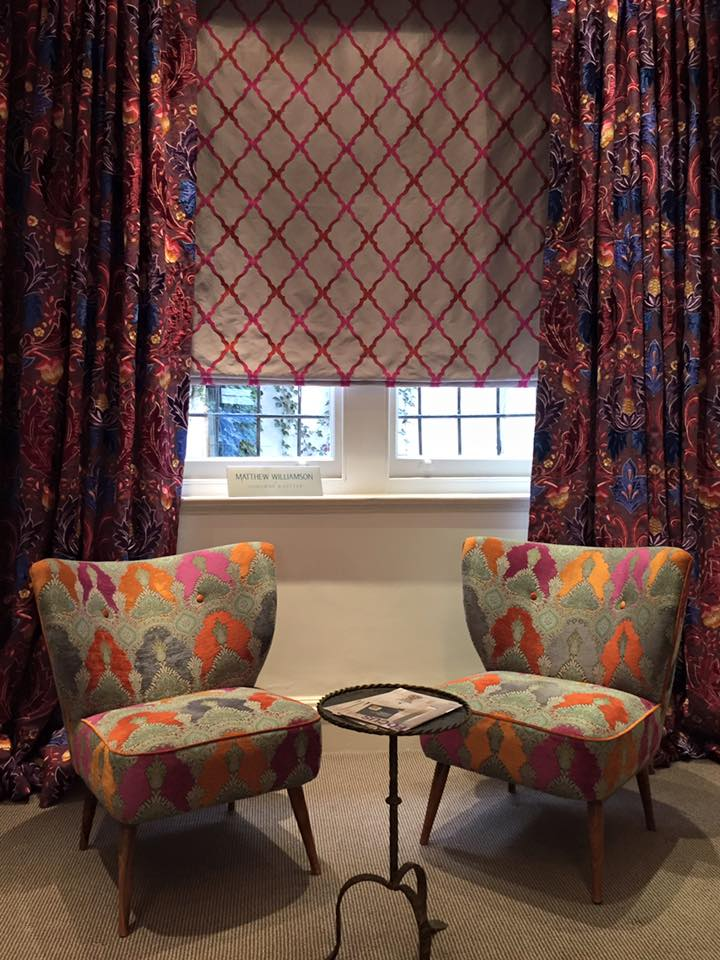 Matthew Williamson curtains, blind and chair coverings.