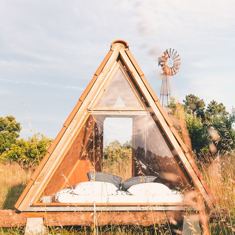 Our triangle cabin to stay in the olive grove and watch the shooting stars at night
