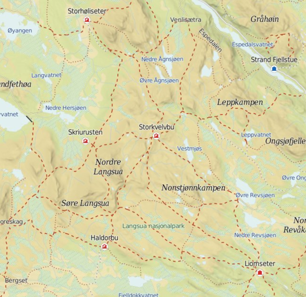 The planned route was Liomseter -- Haldorbu -- Storhøliseter -- Storkvelvbu -- Liomseter, but we had to turn back after a night at Haldorbu due to heavy snow fall. Image source: ut.no.