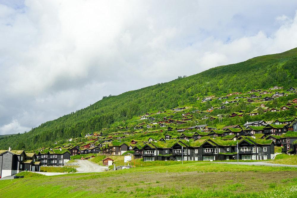 跟山頭融為一體的一堆樓房,其實是度假村酒店來的!聽說冬天時,人們會特意前來這裡滑雪的。不過,對於只抱「借宿一宵」心態的我們來說,這邊的交通太不方便了。