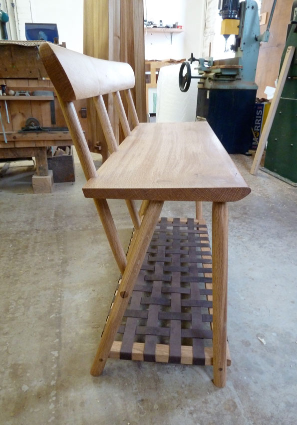 Oak Boot Bench w Leather rack_side view