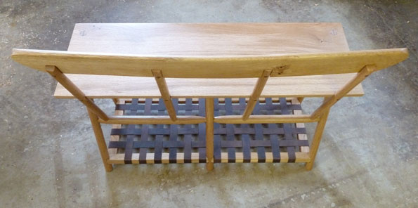 Oak Boot Bench w Leather rack_back view