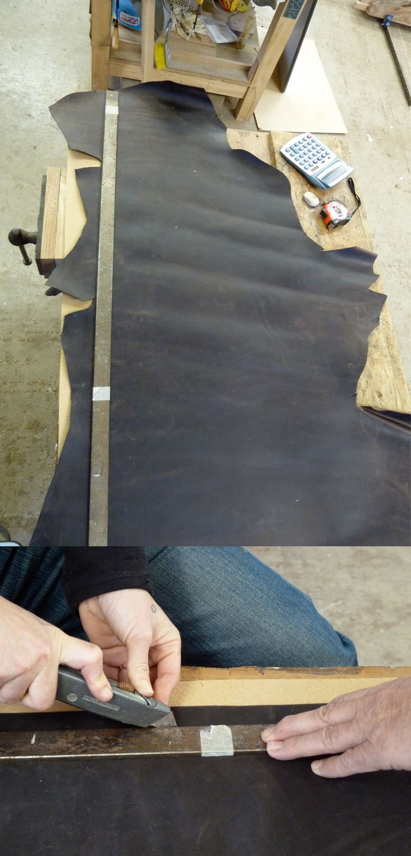 Cutting leather to strips