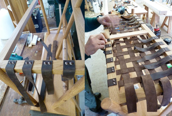 Stretching & weaving leather strips to bench rack