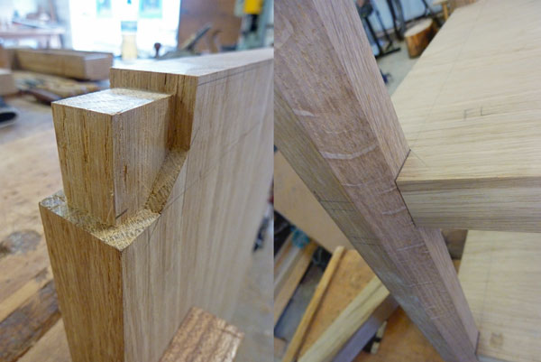Octagonal Tenons in the shelf to slot into the legs