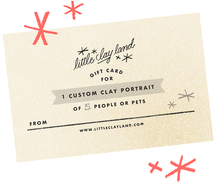 Shop for clay portrait ornament gift cards!