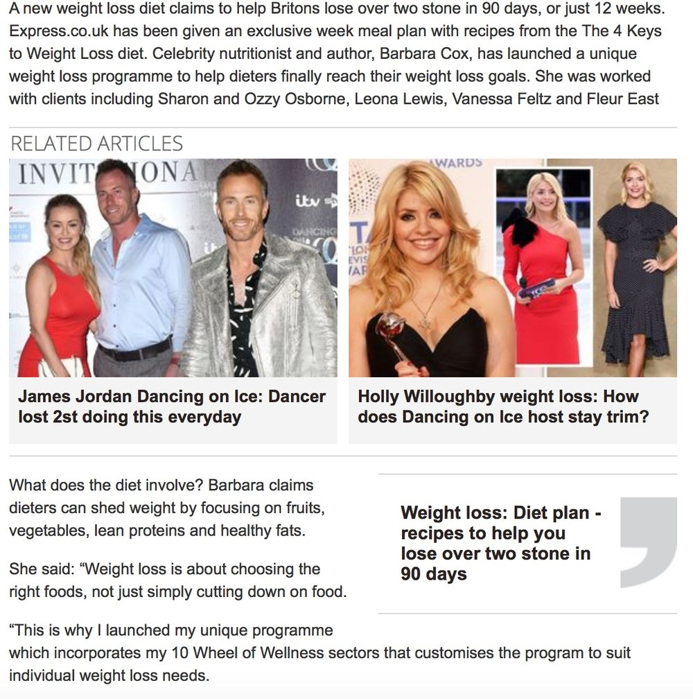Featured in The Daily Express newspaper January 2019 - The 4 Keys To Weight Loss