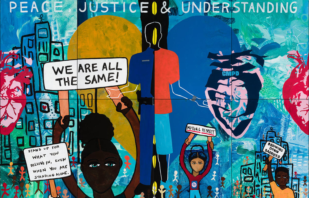 CMPD & Teens Peace Mobile Mural , 2016, 12' x 8' on canvas