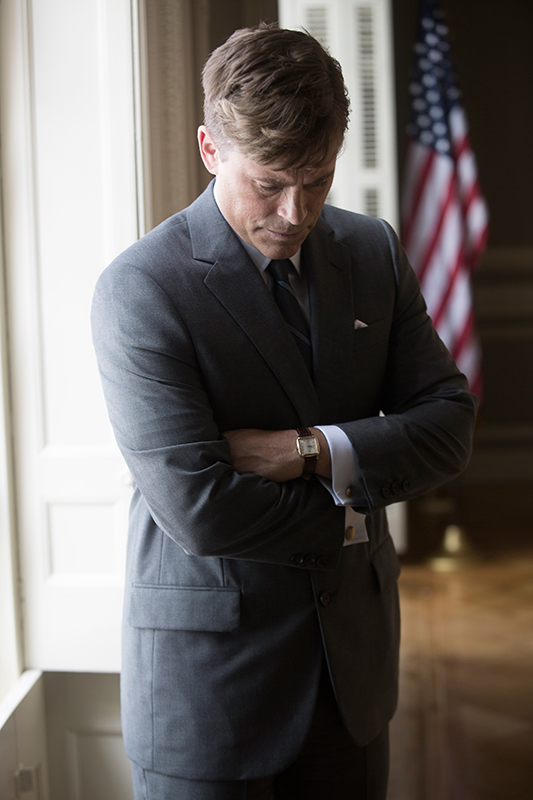 Rob Lowe in the 2013 National Geographic Channel docudrama,  Killing Kennedy.  Photo by Kent Eanes
