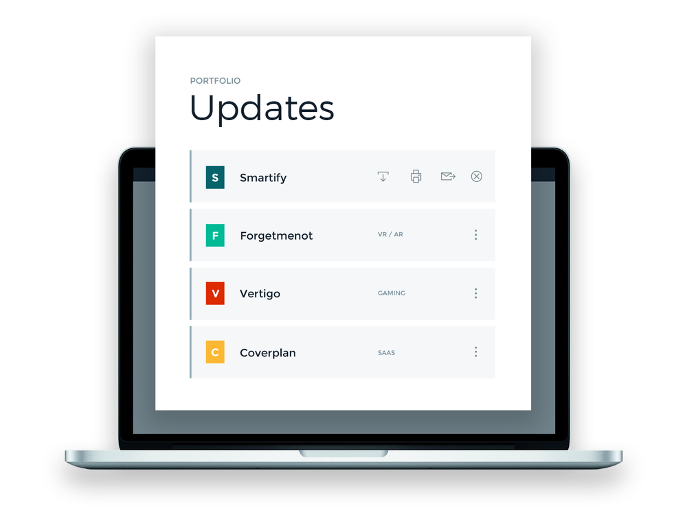 Be notified with updates - Rundit reminds startups to write short updates , no more sending reminder emails. Simply login to check regular updates from portfolio startups.