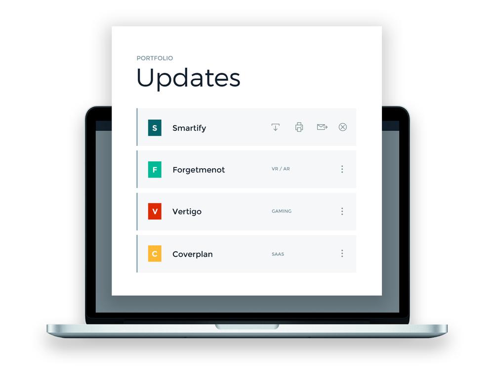 Be notified with updates - Rundit reminds startups to write short updates , no more sending reminder emails. Simply login to check regular updates from portfolio startups.