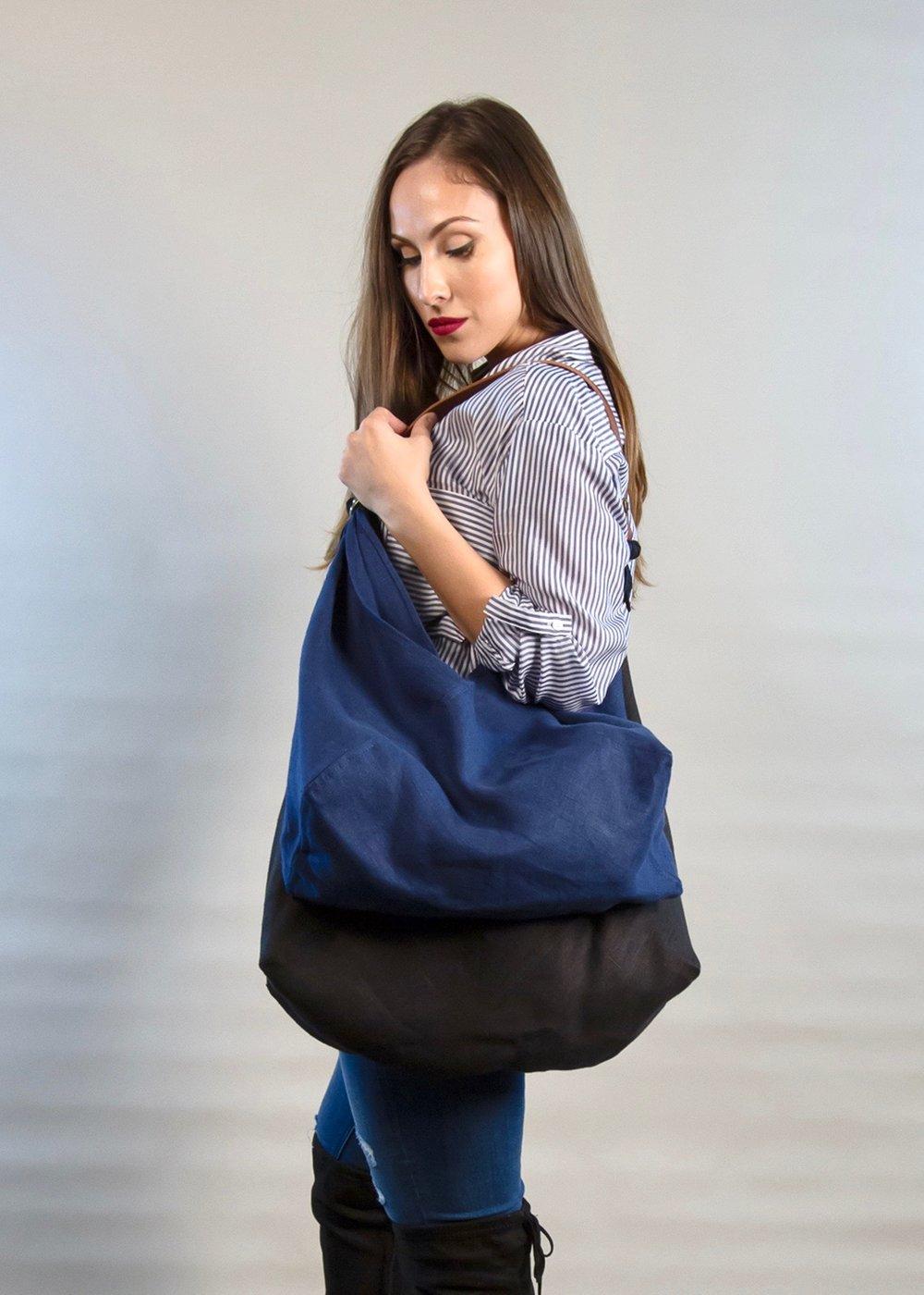 - LARGE BAG IN BLACK + MEDIUM BAG IN INDIGO W/ ORIGINAL HANDLE IN BROWN