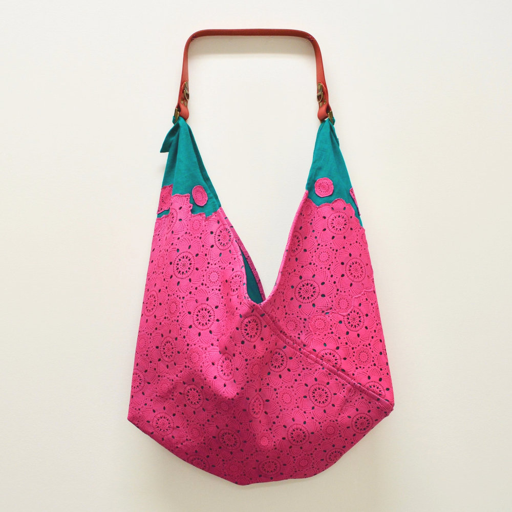 - MEDIUM OOAK TEAL LINEN AND HOT PINK FLORAL LEATHER LACE BAG W/ ORIGINAL HANDLE IN LIMITED EDITION RED