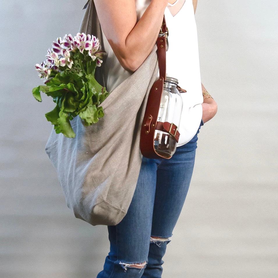 - MEDIUM LINEN BAG IN NATURAL W/ ORIGINAL HANDLE IN BROWN + LEATHER BOTTLE HOLSTER IN BROWN