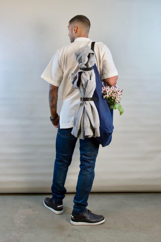 - LARGE LINEN BAG IN INDIGO W/ ORIGINAL HANDLE IN BLACK & 'NOT JUST A BLANKET CARRIER' IN BLACK