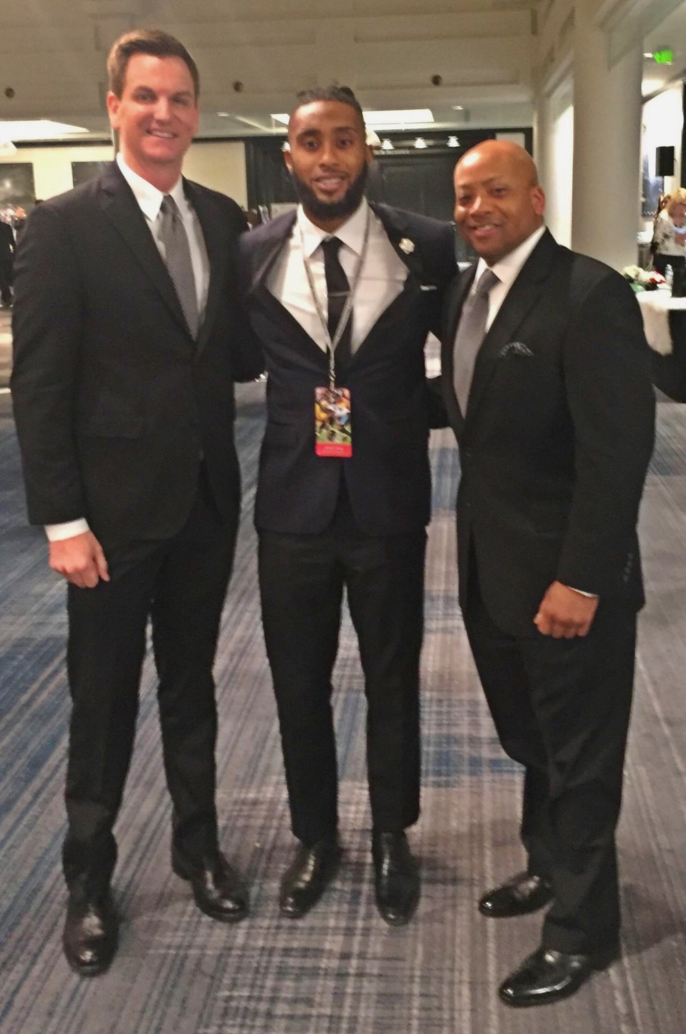 Pictured L to R: James Akins-Chief of Staff, NTF, Aaron Colvin- Cornerback for the Jacksonville Jaguars NTF's Courage House player, and Tony Everett- President & CEO, NTF