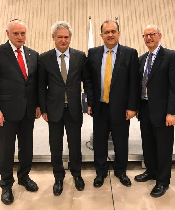 From left: Executive Vice Chairman of the Conference of Presidents of Major American Jewish Organizations Malcolm Hoenlein, Greek Cypriot Negotiator Ambassador Andreas Mavroyiannis, Nick Larigakis, Executive VP of B'Nai B'Rith International Dan Mariaschin.