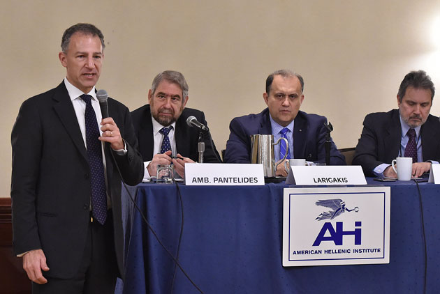 From left: Deputy Assistant Secretary Jonathan Cohen, Amb. Pantelides, Nick Larigakis, Amb. Lalacos.
