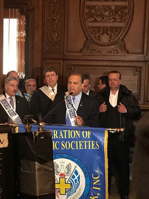 AHI President Nick Larigakis speaks at a pre-Greek Independence Day Parade reception at the Plaza Hotel, New York City.