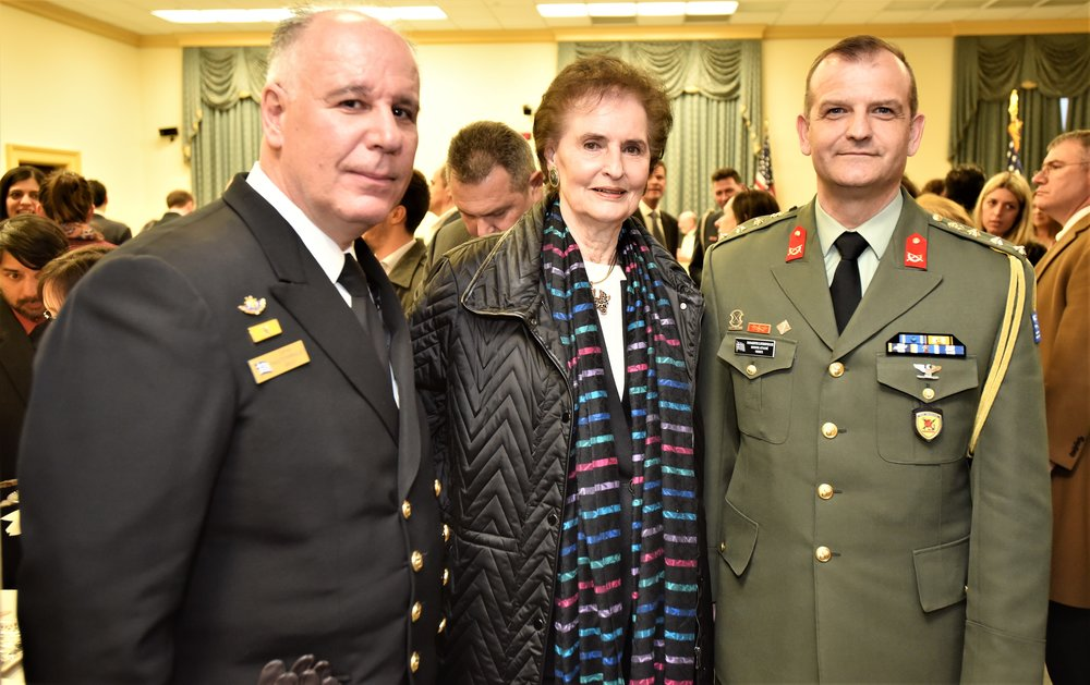 From left: Captain Panagiotis Papanikolaou, Katerina Papathanassiou and Colonel Panos Kavidopoulos, Defense Attaché of Greece