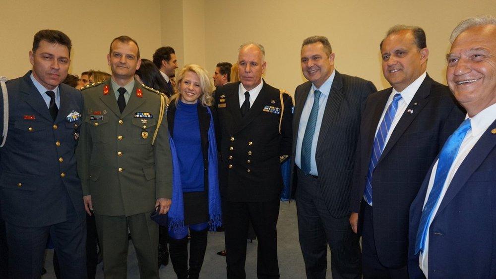 Col. Kavidopuolos, AHI board member Dr. Athina Balta, Captain Papanikolaou, Defense Minister Kammenos, Nick Larigakis, and George Mermelas