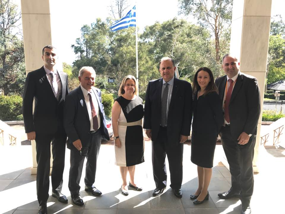 At the Embassy of Greece with Amb. Ekaterini Xagorari (center)