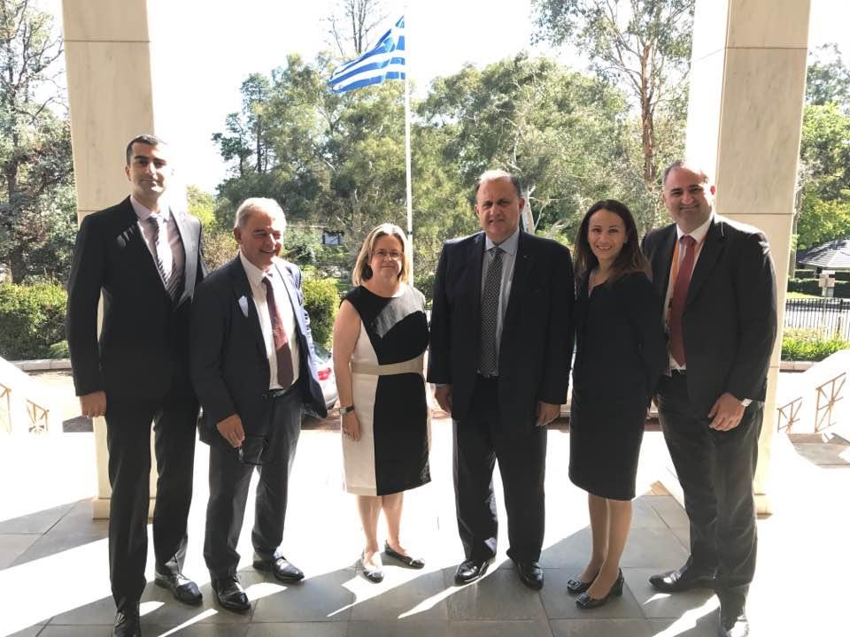 At the Embassy of Greece with Amb. Ekaterini Xagorari (center)
