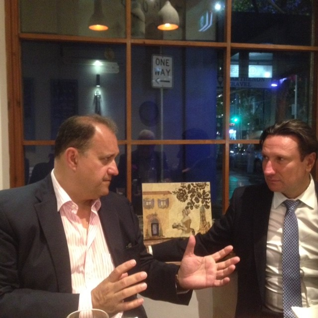 Larigakis in a discussion, with the President of the Greek Community of Melbourne, Mr. Bill Papastergiadis