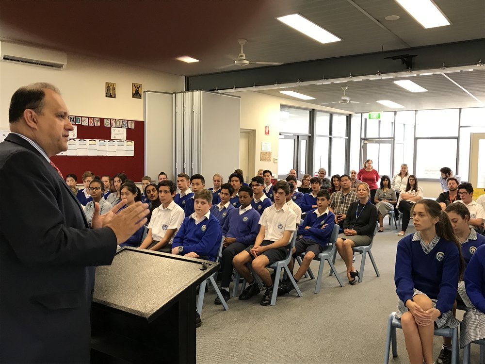 Speaking to the students of the St. Andrew's Grammar School (Greek Charter School of Perth)