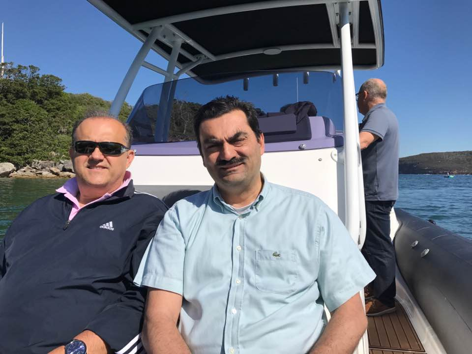 Touring Sydney Harbor with Consul General Dr. Stavros Kyrimis. Our host, Captain & Commodore, John Barbouttis (background).