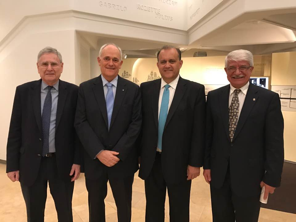 Visit to Sydney Jewish Museum (L-R) Norman Seligman, CEO of Museum; Peter Wertheim, Executive Director, Executive Council of Australian Jewry, Inc.; Nick Larigakis; John Kallimanis, Grand President, AHEPA NSW & NZ Grand Lodge