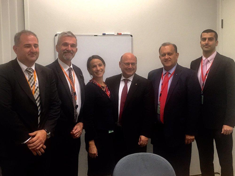With Members of the Australian Hellenic Council at Australian Parliament. (L-R) George Vellis; George Vardas; Elly Symons; Senator Arthur Sinodinos, Minister for Industry-Innovation & Science; Larigakis; Michael Christodoulides