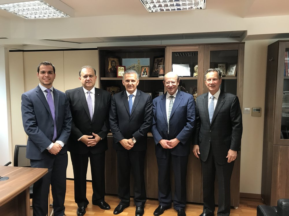 (L-R) Peter Milios, Nick Larigakis, Constantine Galanis, Leon Andris with Photis Photiou, Commissioner to the Presidency for Humanitarian Affairs and Overseas Cypriots (center)