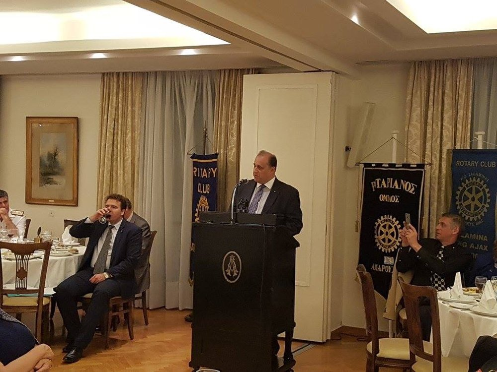 Nick Larigakis speaking at dinner sponsored by four Rotary Chapters, at the Athens Club.