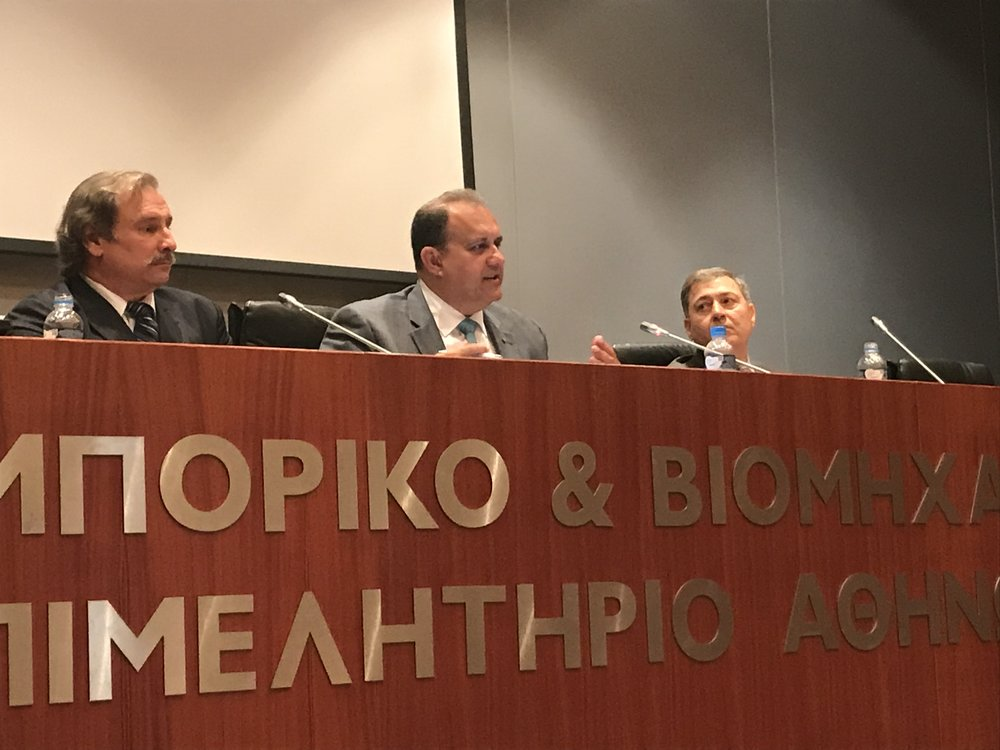Nick Karamabelas, Nick Larigakis, Dr. George Tsetsekos delivering a Policy Presentation at the Athens Chamber of Commerce.