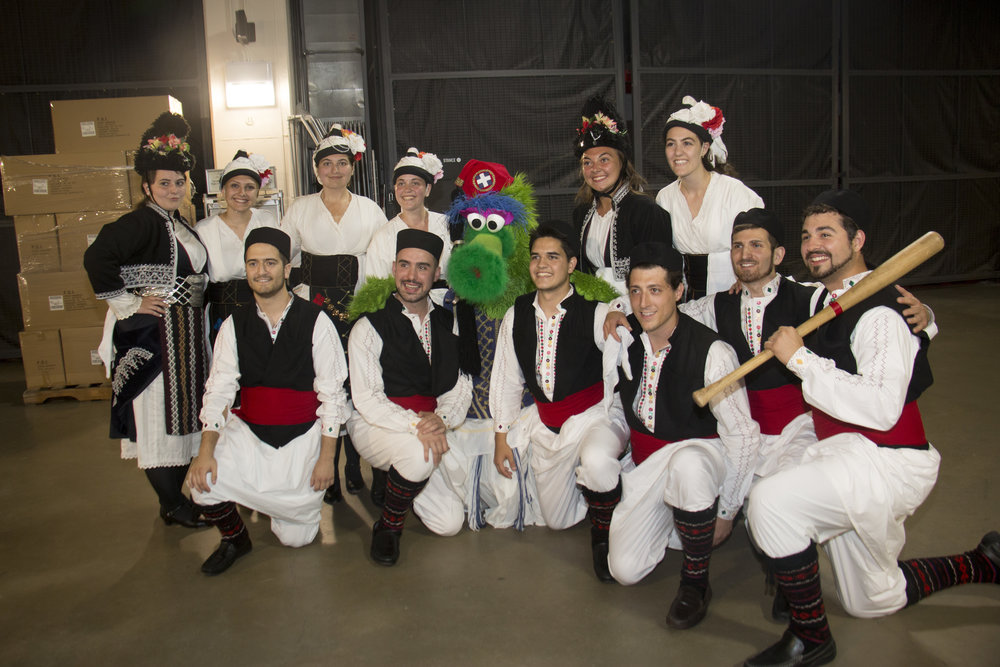 The Pan-Macedonian Dance Group shares a moment with The Phillie Phanatic. (photo credit: Philadelphia Phillies)
