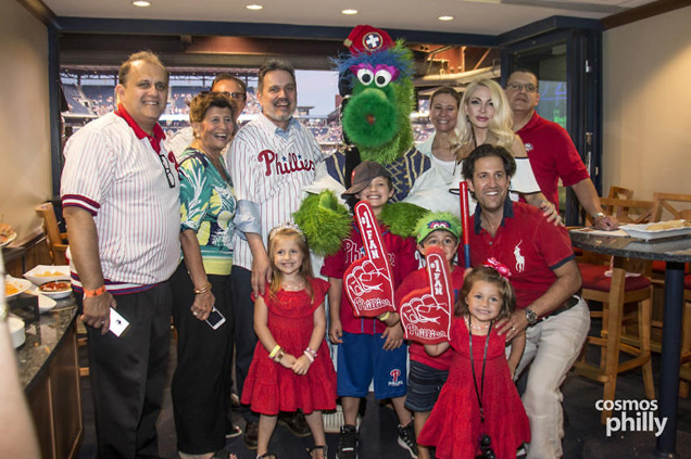 The Phillie Phanatic visits the VIP Suite to entertain the fans. (photo credit: CosmosPhilly)