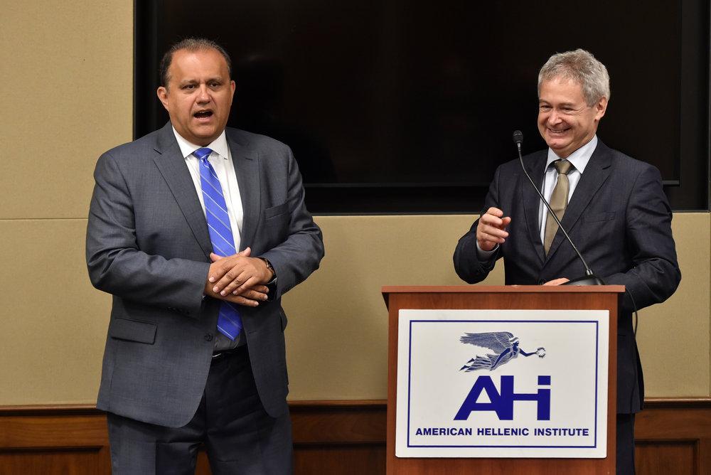 Nick Larigakis and Ambassador Mavroyiannis.