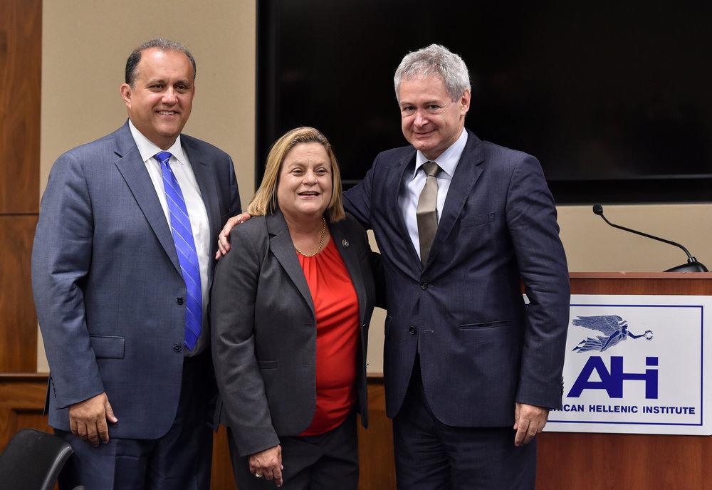 Nick Larigakis, Congresswoman Ros-Lehtinen, and Ambassador Mavroyiannis.