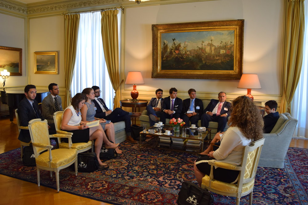 Eleni Porichi, Deputy Head of the Diplomatic Office of the Prime Minister briefed the students prior to their meeting with Prime Minister Tsipras.